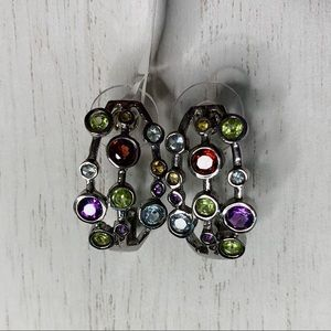 Multicolor Jewel Silver Statement Earrings